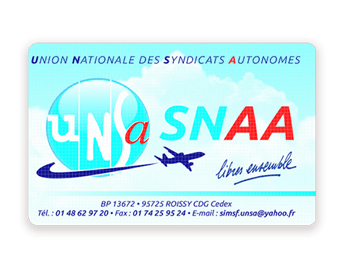 Membership card for UNSA Servair union (back) printed with Badgy