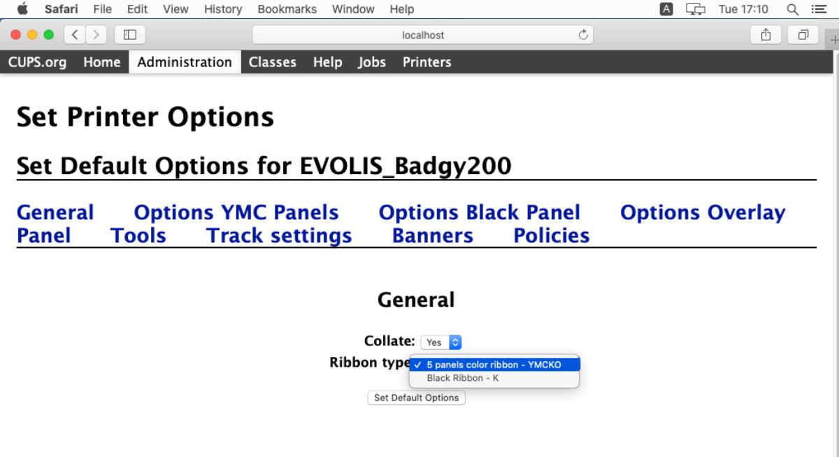 Badgy web cups interface terminal general ribbon type