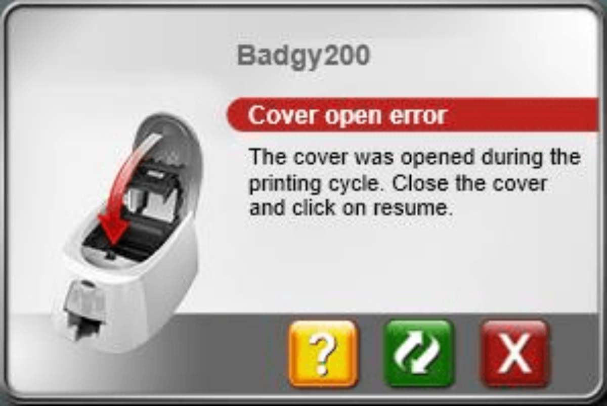 Visual of the Badgy printer information system pop-up window