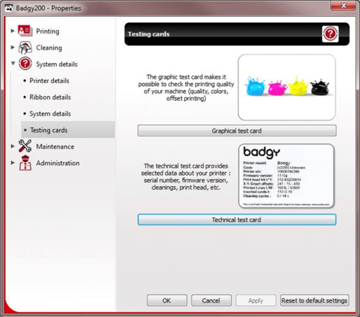 Badgy firmware identification via the print center and technical test cards