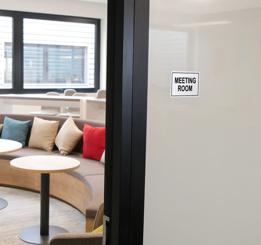 interior signage card for a meeting room