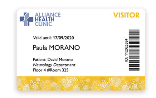 Visitor badge for healthcare printed with Badgy